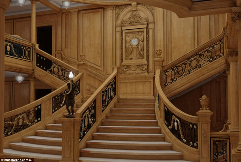 The grand staircase, recreated in this rendering, remains one of the most famous features of the original ship, which set sail in April 1912