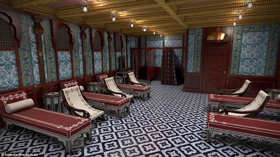 Blue Star Line, owned by Australian businessman Clive Palmer, will stick to the original detail of the Titanic (pictured: Turkish bath)